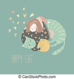 cute, dela, gato, brincalhão, menina, caricatura