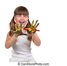 cute, dela, mãos, pintura criança, feliz