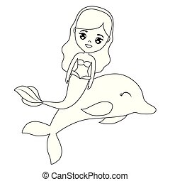 cute, delfin, havfrue, dyr
