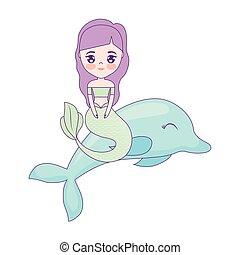 cute, delfin, havfrue, dyr, siddende