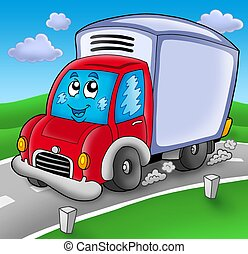 Cute delivery car on road - color illustration.