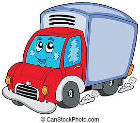 Cute delivery car - vector illustration.