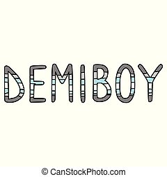 Cute demi boy typography cartoon vector illustration motif ...