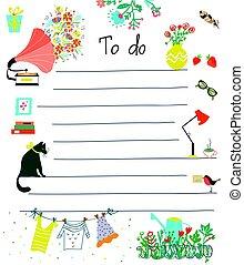 cute, desenho, -, lista, flores