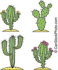Cute desert cactus vector set with flowers.