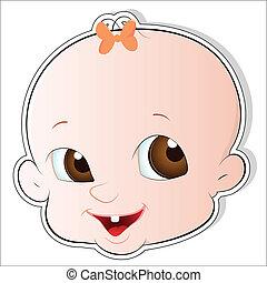 Cute Baby Face Vector