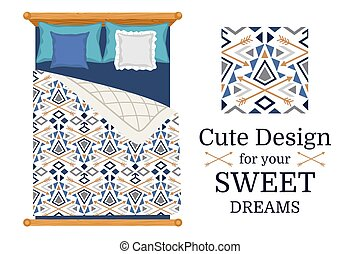 Cute design for bed linen, sweet dreams pattern, vector...