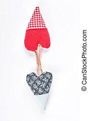 Cute design handmade hearts, top view.
