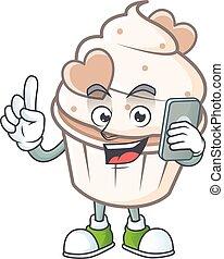 Cute design of white cream love cupcake speaking on the phone