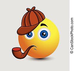 Cute Detective Emoji Character