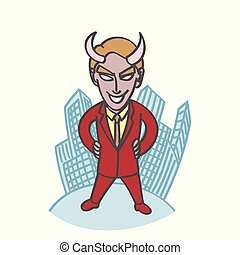 Cute devil boss cartoon with building background