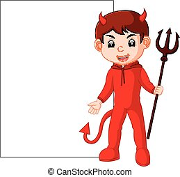 cute devil cartoon with blank sign