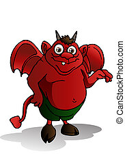 cute devil - illustration of a cute red satan on isolated...