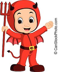 cute devil kids cartoon
