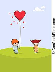 cute, dia, cartão, valentine