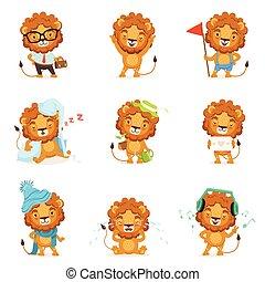 cute, diferente, coloridos, situações, leão, vetorial, posar, caráteres, ilustrações