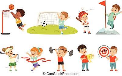 cute, diferente, crianças, tiro com arco, golfe, footbal, futebol, pequeno, alpinismo, esportes, basebol, vetorial, fundo, ilustrações, branca, desporto, basquetebol, tocando