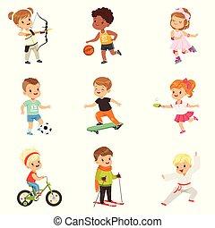 cute, diferente, desporto, tiro com arco, caratê, futebol, ciclismo, crianças, esportes, patinação, vetorial, fundo, skateboarding, ilustrações, branca, pequeno, basquetebol, tocando, rolo