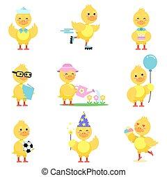 cute, diferente, engraçado, jogo, situações, duckling, amarela, vetorial, caráteres, pato, ilustrações, poses, caricatura