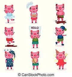 cute, diferente, engraçado, jogo, situações, meninas, porca, meninos, vetorial, piggy, caráteres, ilustrações, poses, caricatura