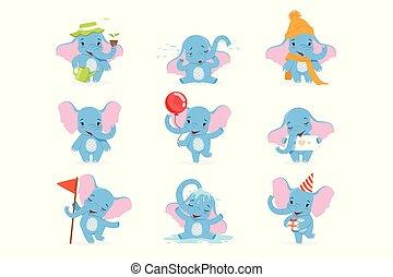 cute, diferente, engraçado, jogo, situações, personagem, bebê, vetorial, elefante, ilustrações, poses