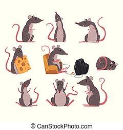 cute, diferente, engraçado, jogo, situações, personagem, cinzento, roedor, vetorial, ilustrações, rato
