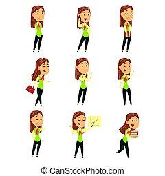 cute, diferente, jogo, coloridos, executiva, ilustração, poses., vetorial, caráteres, caricatura