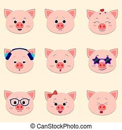cute, diferente, jogo, emoções, rosto, piggy, caricatura, style.