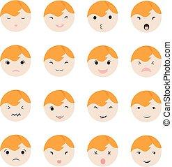 cute, diferente, jogo, mostrando, caras, ilustração, vetorial, icons., emoções, bebê