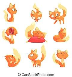cute, diferente, jogo, personagem, ações, vetorial, gatinho, ilustrações, caricatura, vermelho