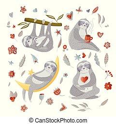 cute, diferente, jogo, poses., sloths, caricatura