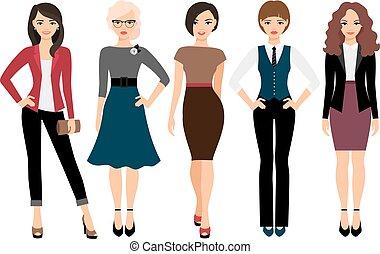 cute, diferente, roupas, mulheres jovens