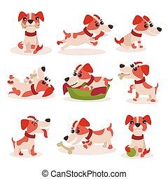 cute, diferente, russell, engraçado, jogo, situações, cão, vetorial, macaco, caráteres, ilustrações, poses, terrier