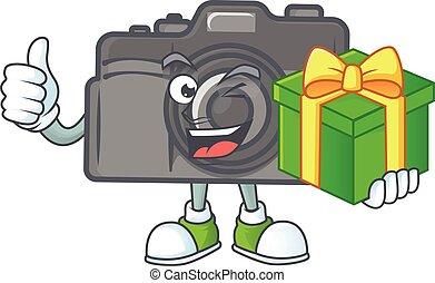 Cute digital camera character holding a gift box