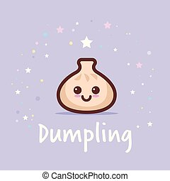 cute dim sum cartoon comic character with smiling face happy emoji kawaii style traditional chinese dumpling food concept