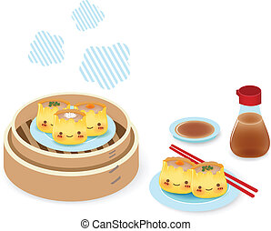 Cute Dim sum - Chinese Food EPS10