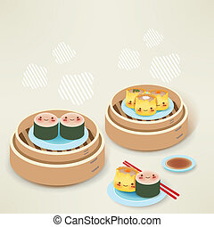 Cute Dim sum - Chinese Food EPS10