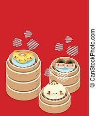 Cute Dim sum - Chinese Food EPS10 - Cute Dim sum - Chinese...