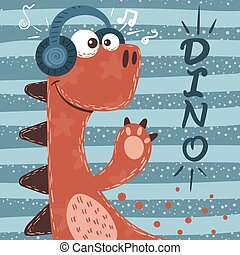 Cute dino characters. Music illustration.