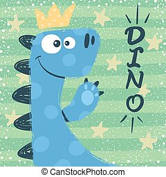 Cute dino characters. Princess illustration.