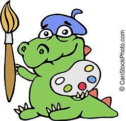 cute dinosaur artist painter