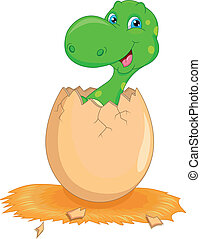 Cute dinosaur cartoon hatching illustration