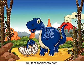 cute dinosaur cartoon with her baby