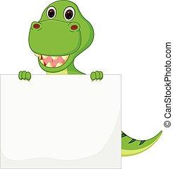 Cute Dinosaur cartoon with sign