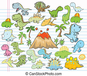Cute Dinosaur Design Elements Vector illustration Set