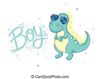 cute dinosaur illustration as vector for baby tee print