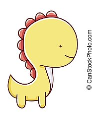 Cute dinosaur illustration cartoon hand drawn isolated on white background