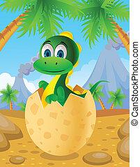 Cute dinosaur in egg