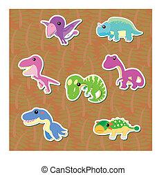 cute dinosaur sticker set