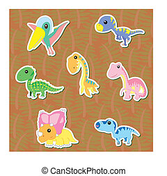 cute dinosaur sticker set